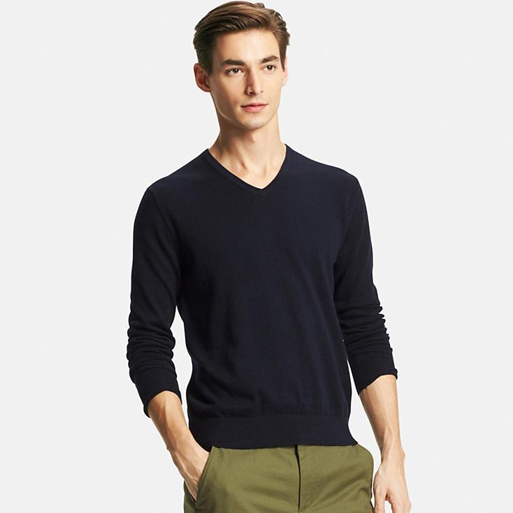 Men Cotton Cashmere V-Neck Sweater – Sales Pop